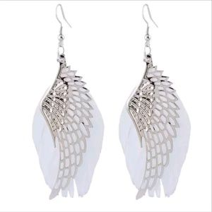👼 Angel Wing Feathered Silver Earrings